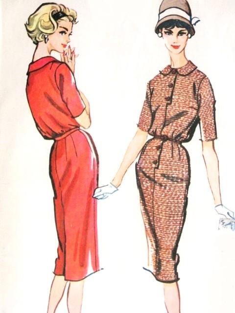 1950s slim shirt dress pattern mccalls 4659 vintage sewing for Peter pan shirt pattern