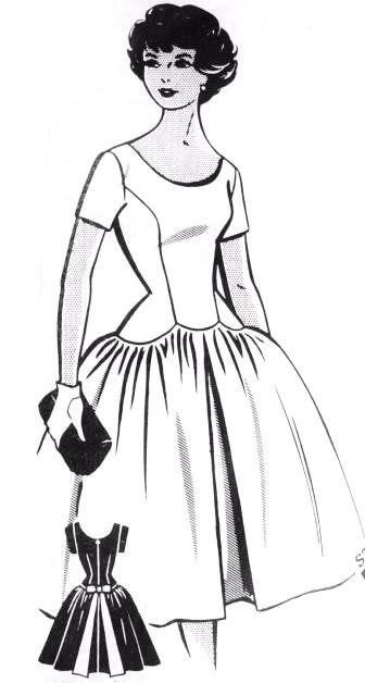 1950s Beautiful Party Cocktail Dress Pattern PATT-O-RAMA