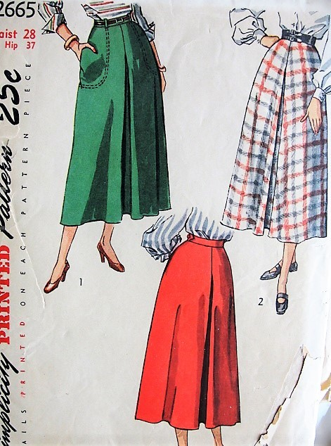 1940s STYLISH Skirt Pattern SIMPLICITY 2665 Center Front and Back Inverted Pleat Figure Flattering Design Waist 28 Vintage Sewing Pattern FACTORY FOLDED