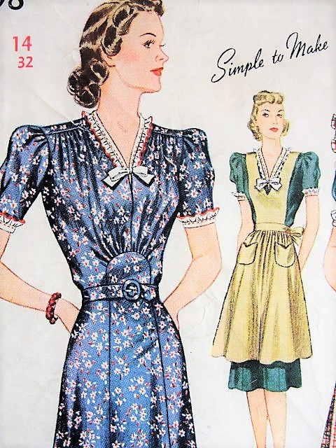 1930s BEAUTIFUL Dress and Pinafore Simplicity 3598 Vintage Sewing Pattern Bust 32