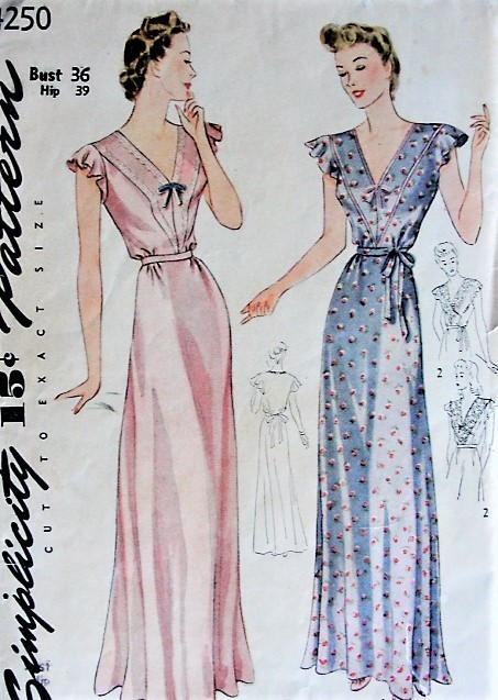 1930s SULTRY Nightgown Simplicity 4250 Vintage Sewing Pattern Lingerie