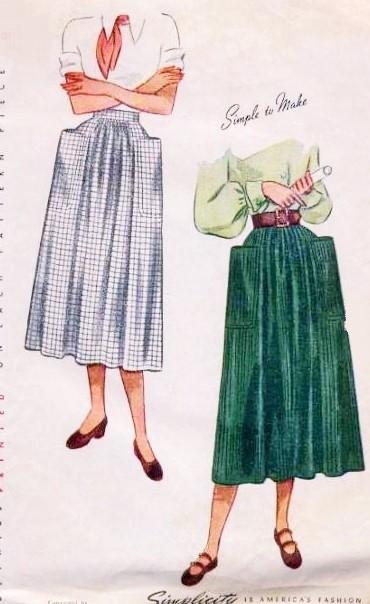 1940s Stylish Dirndl Skirt Pattern Simplicity 2305 Huge