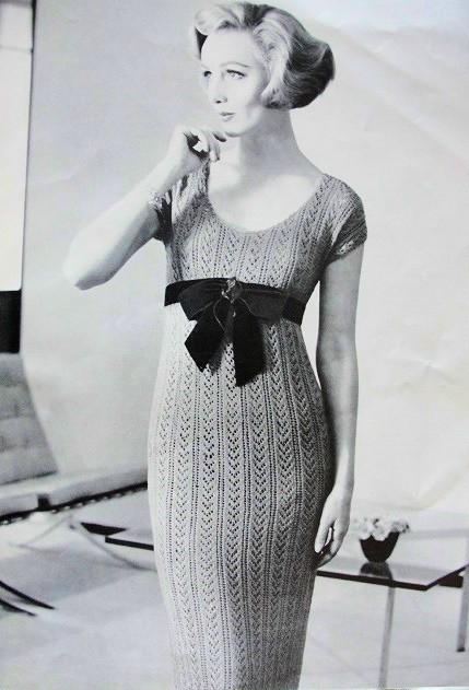 Instant Pdf 1950s Crocheted Slim Sheath Dress Pattern Low
