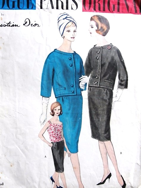 1960 CLASSY Dior Slim Suit and Blouse Pattern VOGUE Paris Original 1012 Slim Skirt, Straight Jacket Beautiful Criss Cross Back Blouse Bust 32 Vintage Sewing pattern