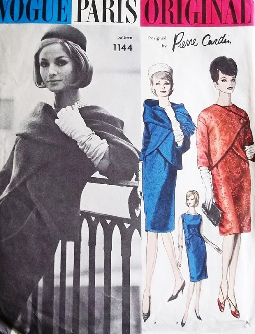 CHIC 60s Pierre Cardin Elegance VOGUE Paris Original 1144 Pattern Slim Dress, Gorgeous Jacket and Scarf Bust 34 Vintage Sewing Pattern