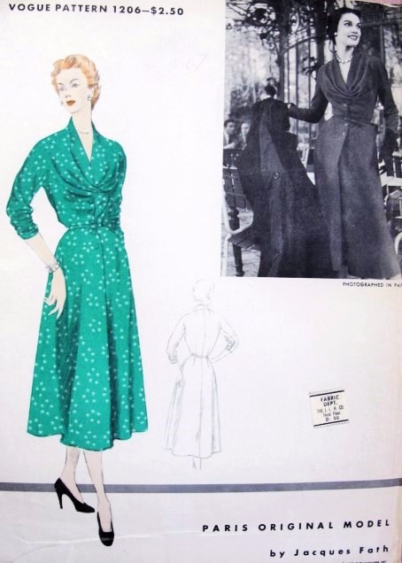 1950s STUNNING Jacques Fath Unique Day or Evening Dress Pattern VOGUE Paris Original Model 1206 Figure Flattering Style Bust 40 Vintage Sewing Pattern FACTORY FOLDED