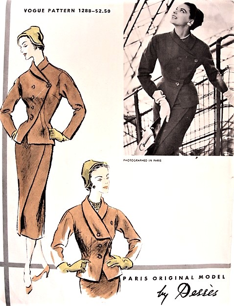 1950s STUNNING and RARE Desses Suit Pattern VOGUE Paris Original Model 1288 High Couture Slim Skirt Fitted Jacket Bust 30 Vintage Sewing Pattern