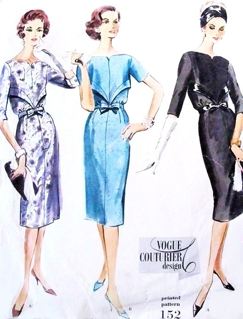 50s Slim COCKTAIL Dress Pattern VOGUE Couturier Design 152 Stunning Neckline Slim Dinner Evening Dress Bust 32 Vintage Sewing Pattern FACTORY FOLDED