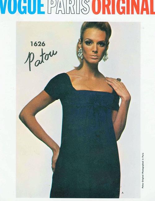 1960s Steamy Patou Low Cut Cocktail Dress Pattern Vogue