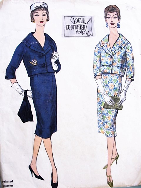 1950s ELEGANT Slim Suit Pattern VOGUE couturier Design 164 Short Jacket  Shawl Collar, Slim Pencil Skirt Daytime or Cocktail Party Evening Bust 36 Vintage Sewing Pattern