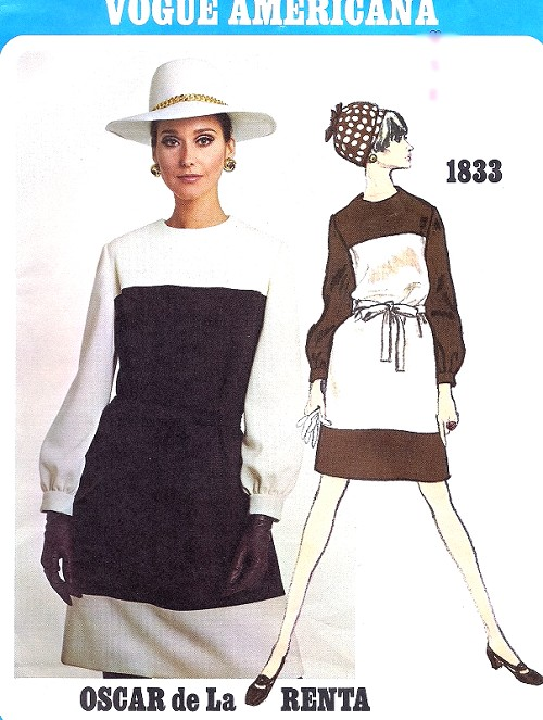 1960s OSCAR de La RENTA Color Block Dress Pattern VOGUE AMERICANA 1833 Easy Elegance Mondrian Style Dress Bust 36 Vintage Sewing Pattern FACTORY FOLDED