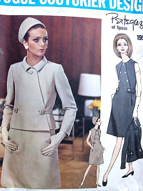 1960s STRIKING PERTEGAZ Asymmetrical Closing Jacket and Slim Dress Pattern VOGUE COUTURIER Design 1996 Day or Cocktail Party Bust 38 Vintage Sewing Pattern