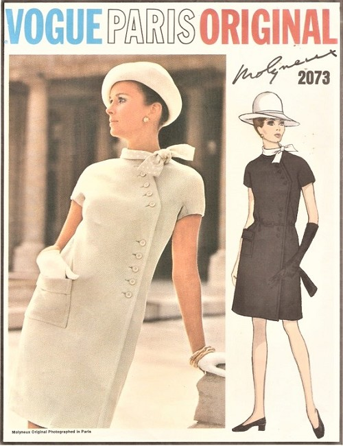 1960s STRIKING Molyneux Diagonal Side Closing Dress Pattern VOGUE Paris Original 2073 Day or After Five Bust 36 Vintage Sewing Pattern UNCUT