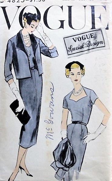 1950s CLASSIC Slim Dress and Jacket Vogue 4825 Bust 36 Vintage Sewing Pattern