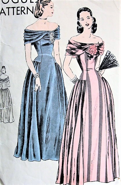 1940s GORGEOUS Evening Dress Gown Pattern VOGUE 5885 Dramatic Off Shoulder Low Neckline With Stunning Cross Over Bias Drape Bust 32 Vintage Sewing Pattern