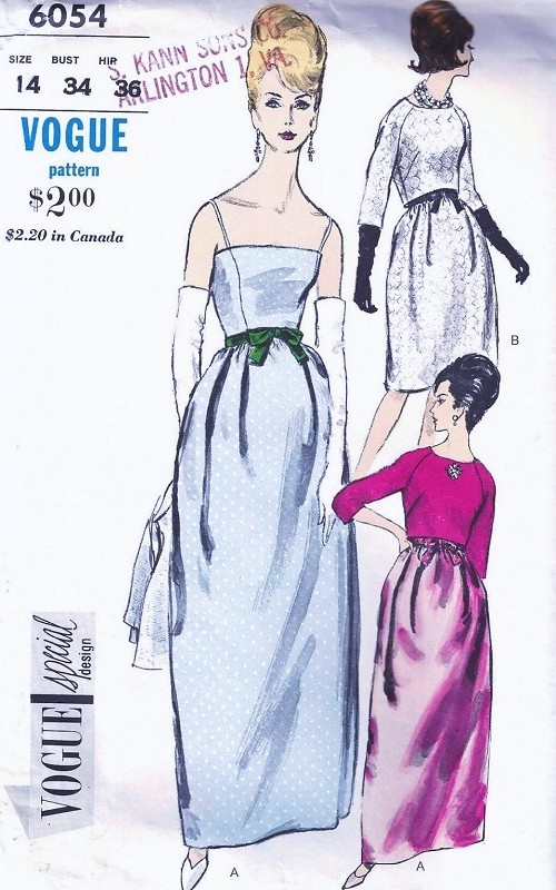 1960s ELEGANT Evening Evening Dress and Bolero Jacket Pattern VOGUE SPECIAL Design 6054 Camisole Top Gown Back Button Bolero Bust 36 Vintage Sewing Pattern UNCUT