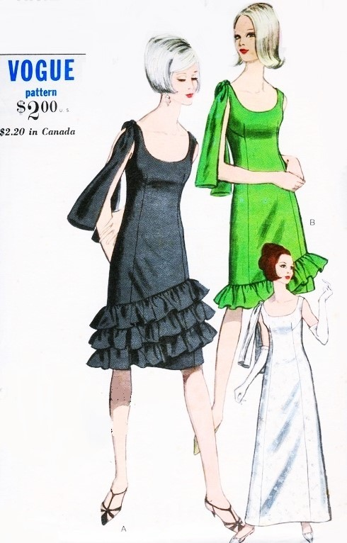 60s GLAM Evening Party Cocktail Dress Pattern VOGUE 6614 Three Lovely Versions 2 Lengths Bust 31 Vintage Sewing Pattern UNCUT