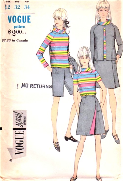 1960s MOD Coordinates Pattern VOGUE Special Design 7116 Wrap Skirt, Jacket, Rolled Collar Blouse and Walking Shorts Bust 32 Vintage Sewing Pattern UNCUT