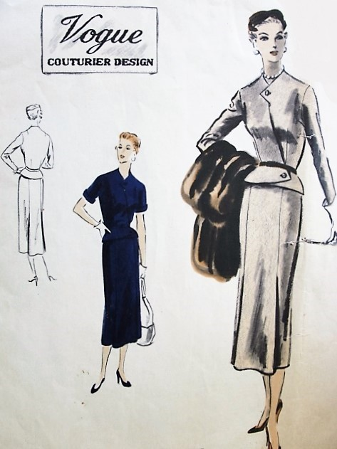 1950s CHIC Two Pc Dress Suit Pattern VOGUE COUTURIER Design 763 Eye Catching Fitted Peplum OverBlouse Jacket Slim Skirt With Godet Pleats Bust 34 Vintage Sewing Pattern FACTORY FOLDED