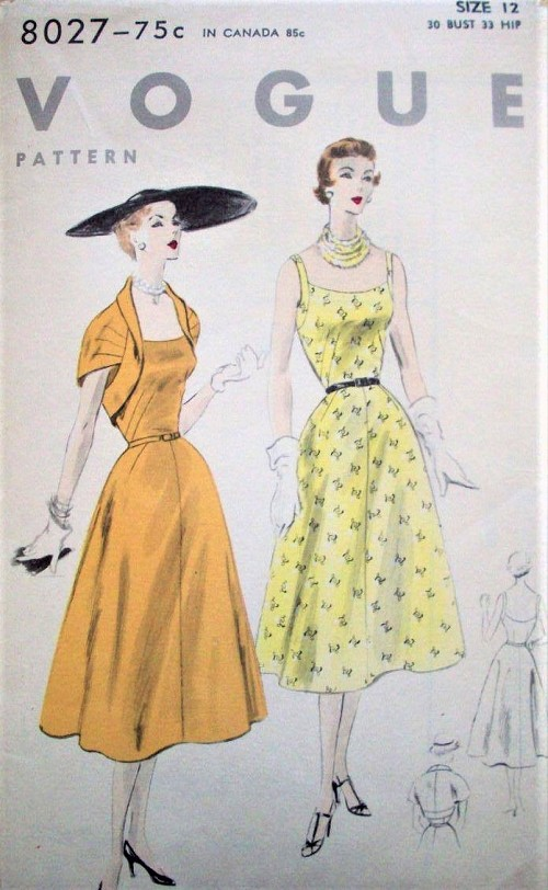 1950s STUNNING Bolero Jacket and Dress Pattern VOGUE 8027 Beautiful Designs Bust 30 Vintage Sewing Pattern FACTORY FOLDED