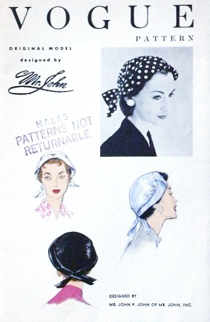 1950s Designer Mr John Hat Pattern VOGUE 8546 Narrow Brim Hat  Easy Chic One Size Vintage Sewing Pattern