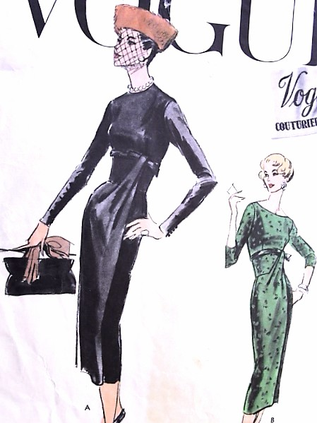 1950s EYE CATCHING Slim Cocktail Evening Dinner Party Dress Pattern VOGUE COUTURIER Design 934 Two Beautiful Styles  Bust 36 Vintage Sewing Pattern