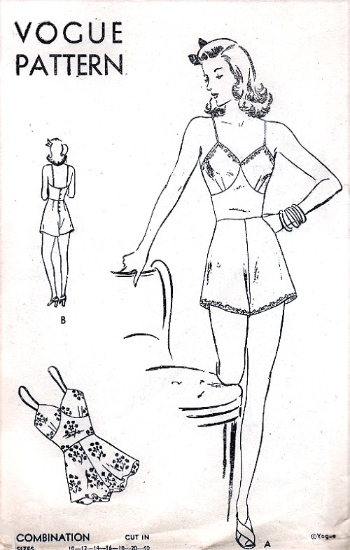 1940s WW II Era CHEMISE Combination Lingerie Pattern VOGUE 9452 FLIRTY Pinup Style  Bust 36 Vintage Sewing Pattern