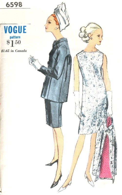 1960s CLASSY Dress and Jacket Pattern VOGUE 6598 Day or Cocktail Evening Bust 34 Vintage Sewing Pattern