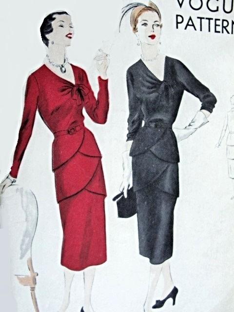 1950 Evening Cocktail Party Dress Pattern Unique Double