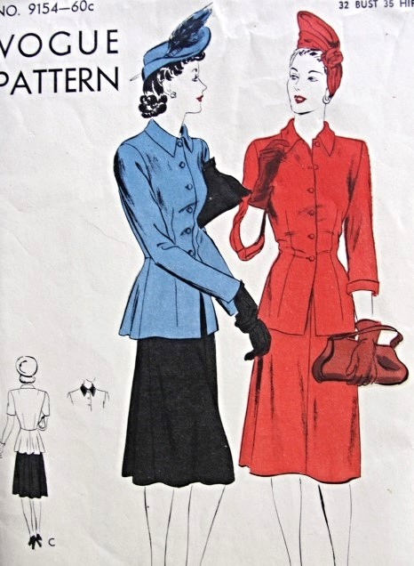 1940s Two Piece Dress Or Suit Pattern Vogue 9154 Flared