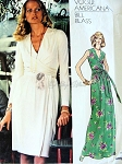 1970s BEAUTIFUL Bill Blass Evening Dress Pattern VOGUE AMERICANA 1015 Bust 31 V Neckline, Wrap n Tie Bodice Regular or Maxi Length Vintage Sewing Pattern FACTORY FOLDED (COPY)