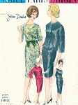 1960s JEAN DESSES SLIM DRESS, SHORTIE JACKET PATTERN DAY or EVENING BACK VERSION VOGUE PARIS ORIGINAL 1064