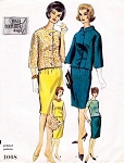 1960s Elegant 3 Pc Suit Pattern Vogue Couturier Design 1068 Two Jacket Styles Bust 31 Vintage Sewing Pattern