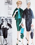 1960s FABIANI Elegant Suit and Blouse Pattern VOGUE COUTURIER Design 1103 Stunning Funnel Neck Jacket, Slim Skirt Bateau Neckline Blouse Day or Evening Cocktail Party Bust 31 Vintage Sewing Pattern