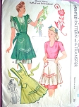1940s PRETTY War Time WWII  Apron Pattern McCALL 1124 Three Lovely Styles Half and Full Bib Vintage Sewing Pattern Medium