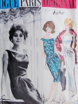 1960s Gorgeous Patou Evening Gown Cocktail Dress Pattern Stunning Drapery, Bateau Neckline Low V Back Version Vogue Paris Original 1128 Vintage Sewing Pattern Bust 31