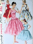 1950s SIMPLICITY 1140 PATTERN LOVELY LONG LINE DROP WAIST PARTY DRESS 3 STYLE VERSIONS VERY PRETTY