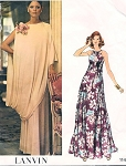 1970s ELEGANT Lanvin Evening Gown and Toga Cape Wrap Pattern VOGUE PARIS ORIGINAL 1147 Vintage Sewing Pattern Bust 34 UNCUT FACTORY FOLDED