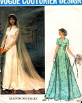 70s VOGUE COUTURIER PATTERN 1156 BEAUTIFUL  WEDDING GOWN BRIDAL DRESS VEIL, CAP  BELINDA BELLVILLE