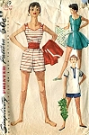 1950s Beach Wear Swim Suit Pattern Playsuit, Short Full Skirt and Pull Over Shirt Simplicity 1169 Vintage Sewing Pattern Bust 32