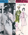 1960 JACQUES GRIFFE SUIT, BLOUSE PATTERN CLASSY BOX JACKET, SLIGHTLY FLARED SKIRT,BELT, BLOUSE  VOGUE PARIS ORIGINAL 1171