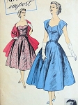 1950s RODRIGUEZ EVENING DRESS, STOLE PATTERN BALLET LENGTH, HEART SHAPE NECKLINE, STRAPLESS or LOW V BACK with UNIQUE WIDE BANDED SLEEVES, ADVANCE IMPORT PATTERNS 118