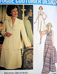 1970s BELINDA BELLVILLE Dress Jacket Pattern VOGUE  Couturier Design 1193 Day or Maxi Dress Bust 34 Vintage Sewing Pattern FACTORY FOLDED