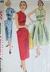 1950s  ROCKABILLY Slim or Full Skirt Dress Pattern SIMPLICITY 1199 Three Style Versions Bust 32 Vintage Sewing Pattern
