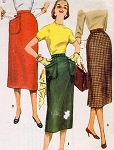 1950s CLASSY Slim Skirt Pattern SIMPLICITY 1229 Three Versions Waist 27 Simple To Make Vintage Sewing Pattern
