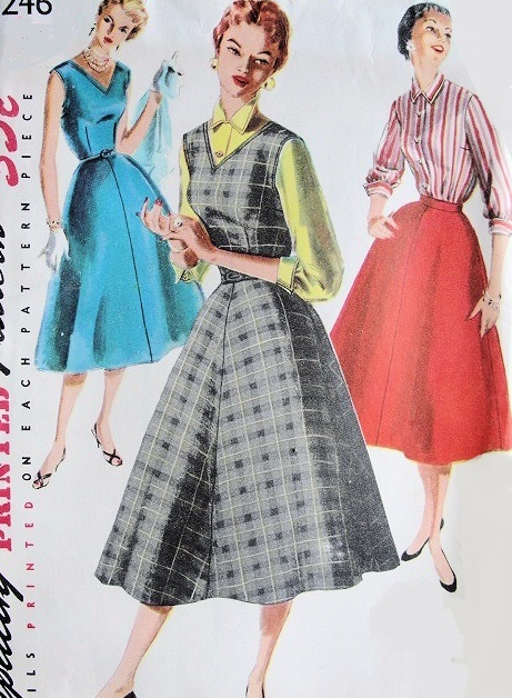 1950s Rockabilly Evening Dress or Jumper Skirt and Blouse Pattern ...