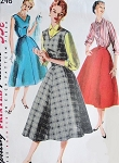 1950s Rockabilly Evening Dress or Jumper Skirt and Blouse Pattern SIMPLICITY 1246 Easy To Sew Bust 34 Vintage Sewing Pattern