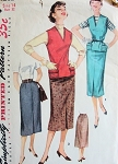 1950s  SLIM PENCIL SKIRT, JERKIN TOP PATTERN SIMPLICITY 1262