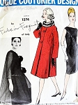 1960s ELEGANT Federico Forquet Dress and Coat Pattern VOGUE Couturier Design 1274 Evening or Daytime Versions Bust 32 Vintage Sewing Pattern