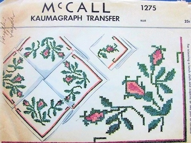 1940s McCALL 1275 Kaumagraph Iron On Transfer Moss Roses ...